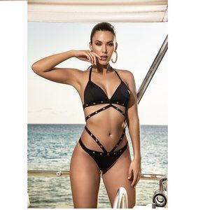NWT Black Two Piece Swimsuit / Hole Detail
